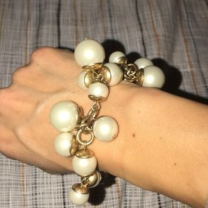 Pearl + Antique Gold bead bracelet